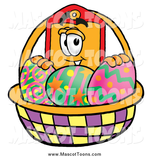 Cartoon of a Price Tag Mascot with a Basket of Easter Eggs
