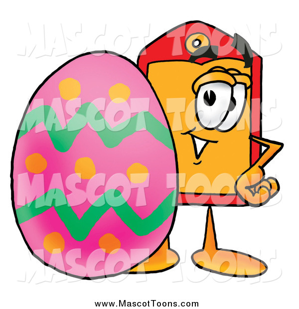 Cartoon of a Price Tag Mascot with an Easter Egg