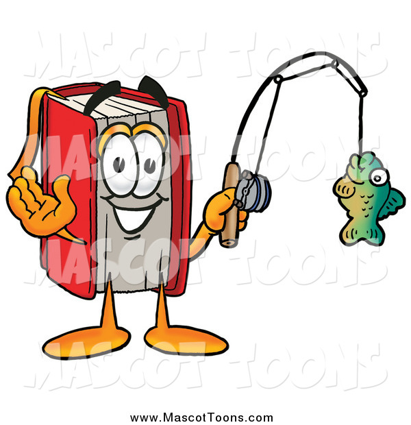 Cartoon of a Red Book Mascot Fishing