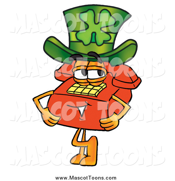 Cartoon of a Red Telephone Mascot Wearing a Saint Patricks Day Hat with a Clover on It