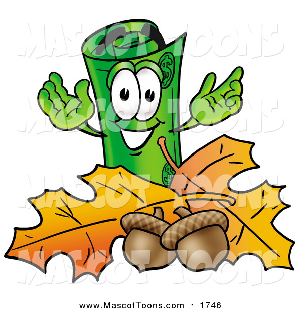 Cartoon of a Rolled Money Mascot with Autumn Leaves and Acorns