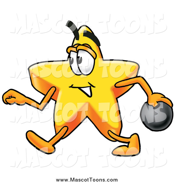 Cartoon of a Star Mascot Walking with a Bowling Ball