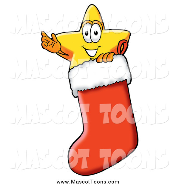 Cartoon of a Star Mascot Waving in a Christmas Stocking