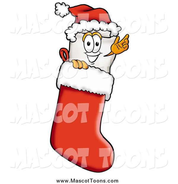 Cartoon of a Tooth Character Wearing a Santa Hat Inside a Red Christmas Stocking