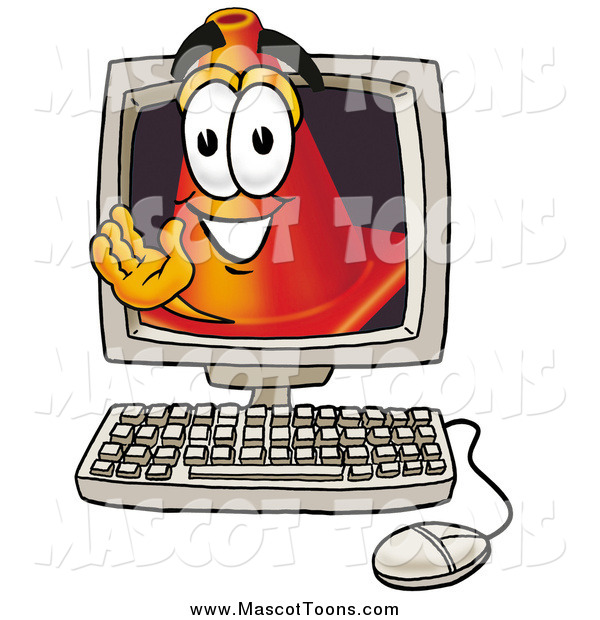 Cartoon of a Traffic Cone Mascot Waving from Inside a Computer Screen