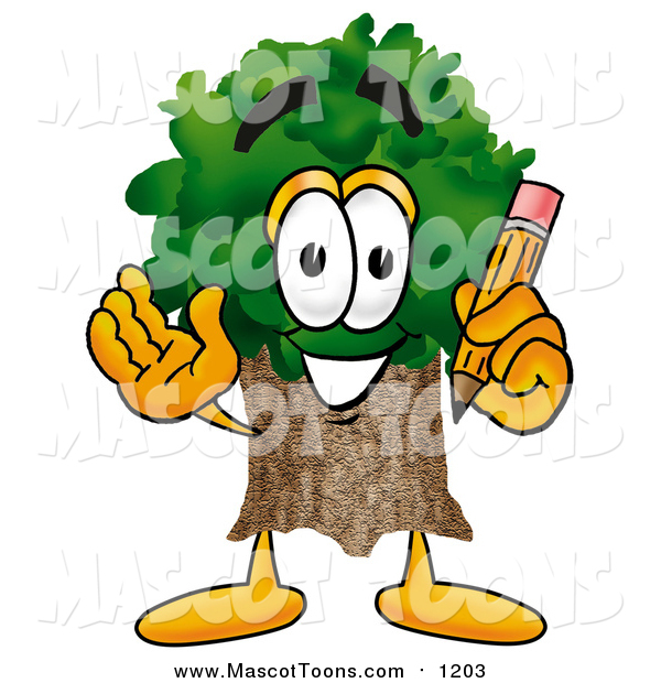 Cartoon of a Tree Mascot Holding a Pencil