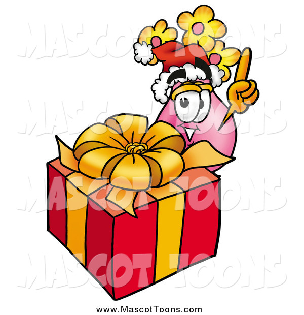 Cartoon of a Vase of Flowers Mascot and a Christmas Gift