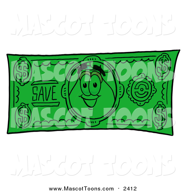 Cartoon of a Vase of Flowers Mascot Character on a Dollar Bill