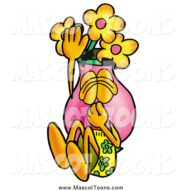 Cartoon of a Vase of Flowers Mascot Plugging His Nose While Jumping into Water