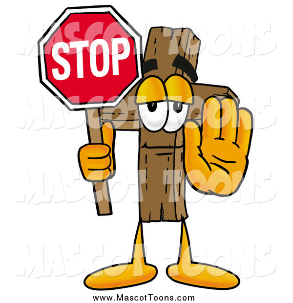 Cartoon of a Wooden Christian Cross Mascot Holding a Stop Sign