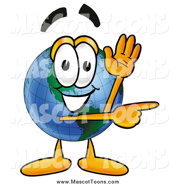 Cartoon of an Earth Globe Mascot Waving and Pointing