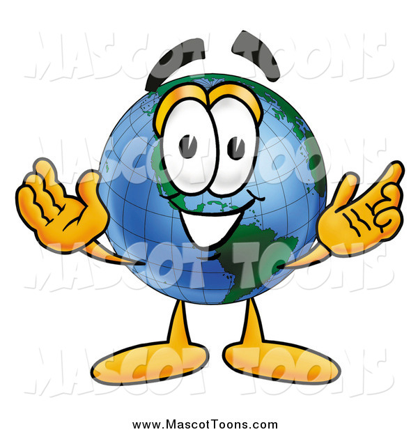Cartoon of an Earth Mascot Welcoming