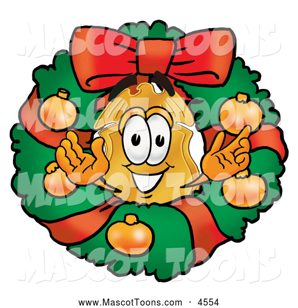 Mascot Cartoon of a Cheerful Badge Character in a Christmas Wreath
