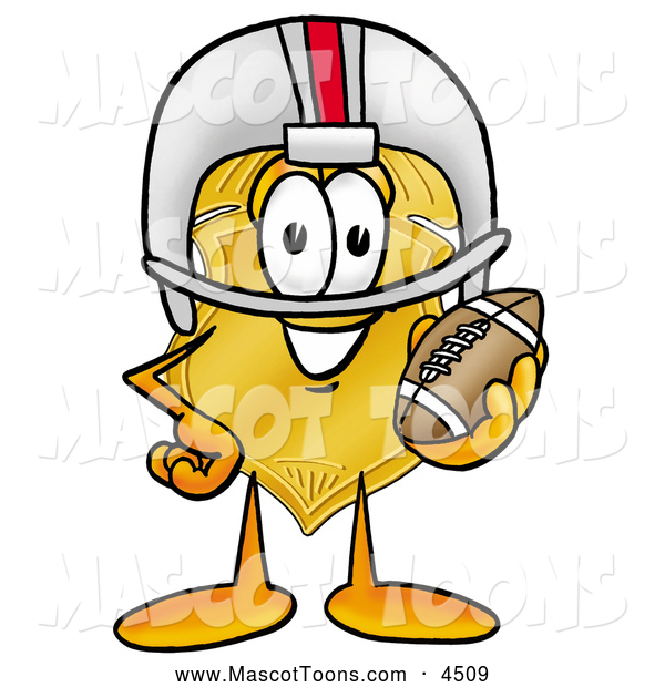 Mascot Cartoon of a Cheerful Badge Mascot Cartoon Character in a Helmet, Holding a Football