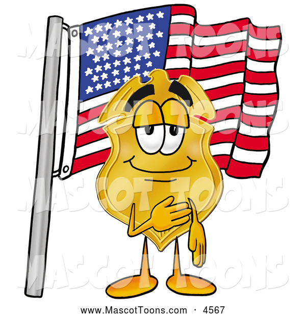 Mascot Cartoon of a Cheerful Badge Mascot Cartoon Character Pledging Allegiance to an American Flag