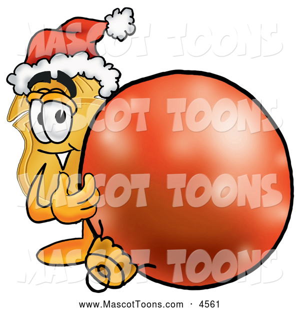 Mascot Cartoon of a Cheerful Badge Mascot Cartoon Character Wearing a Santa Hat, Standing with a Christmas Bauble