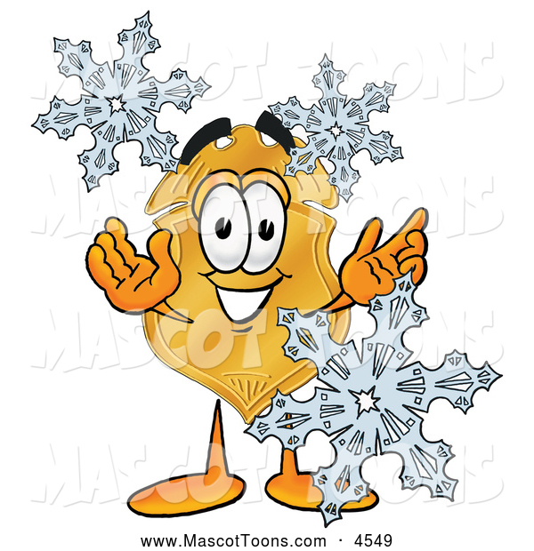 Mascot Cartoon of a Cheerful Badge Mascot Cartoon Character with Three Snowflakes in Winter