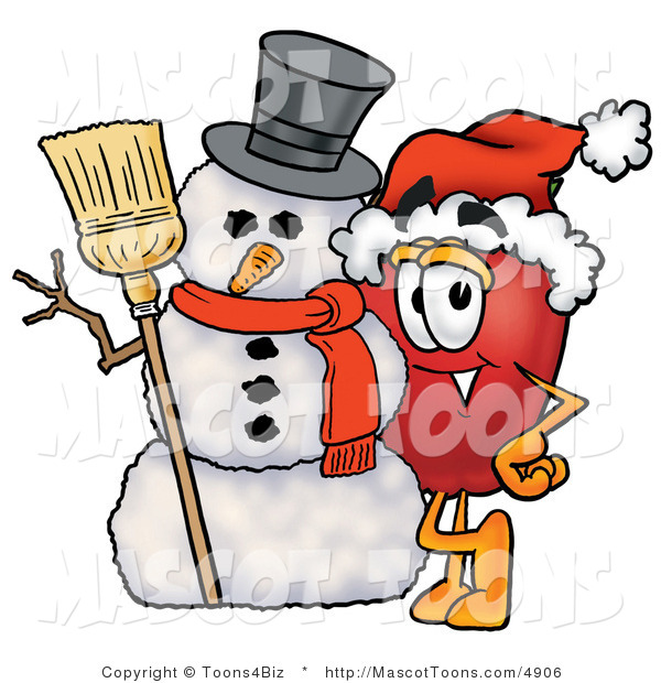 Mascot Cartoon of a Christmas Apple and Snowman