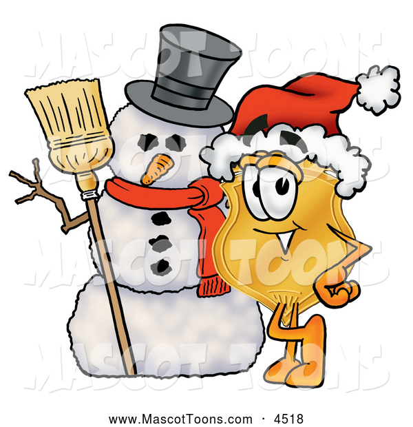 Mascot Cartoon of a Cute Badge Mascot Cartoon Character with a Snowman on Christmas