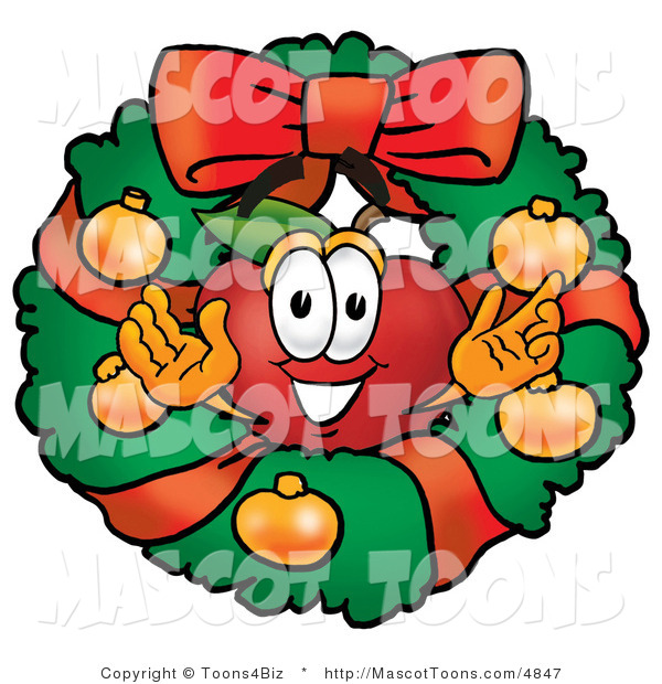 Mascot Cartoon of a Festive Nutritious Red Apple Character Mascot in the Center of a Christmas Wreath