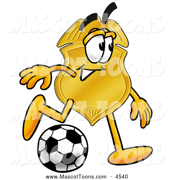 Mascot Cartoon of a Friendly Badge Mascot Cartoon Character Kicking a Soccer Ball