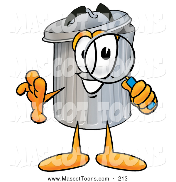 Mascot Cartoon of a Garbage Can Mascot Looking Through a Magnifying Glass