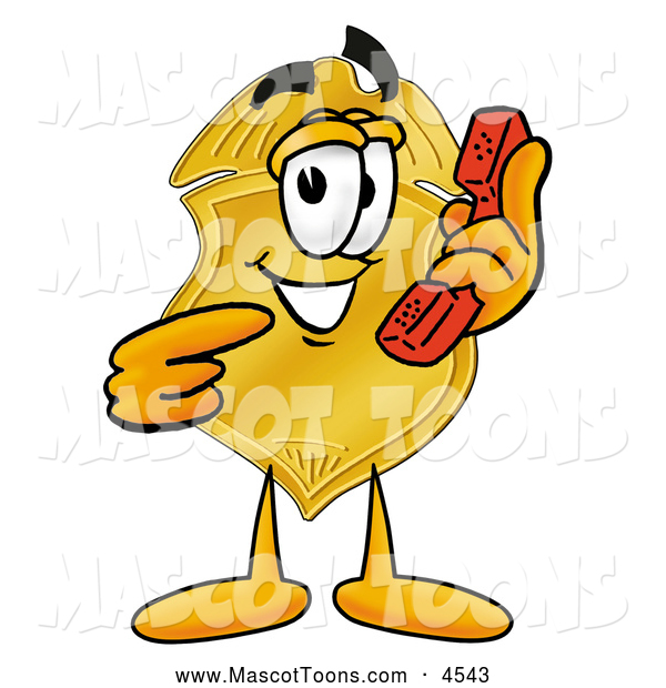 Mascot Cartoon of a Grinning Badge Mascot Cartoon Character Holding a Telephone
