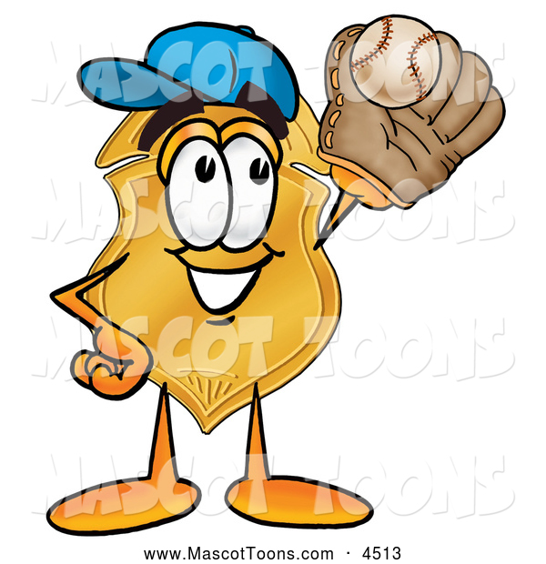Mascot Cartoon of a Happy Badge Mascot Cartoon Character Catching a Baseball with a Glove