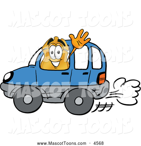 Mascot Cartoon of a Happy Badge Mascot Cartoon Character Driving a Blue Car and Waving