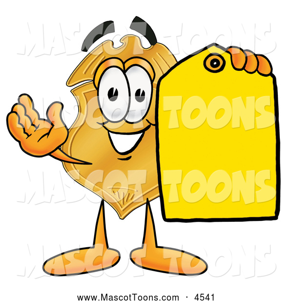 Mascot Cartoon of a Happy Badge Mascot Cartoon Character Holding a Blank Yellow Price Tag for a Sale