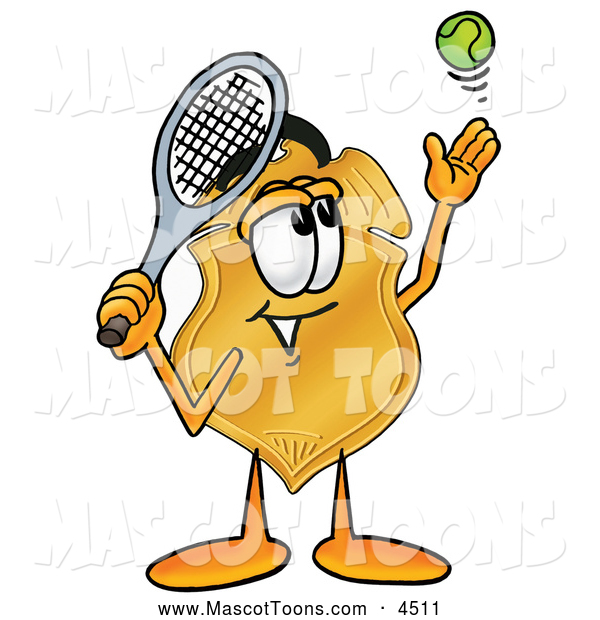Mascot Cartoon of a Happy Badge Mascot Cartoon Character Preparing to Hit a Tennis Ball
