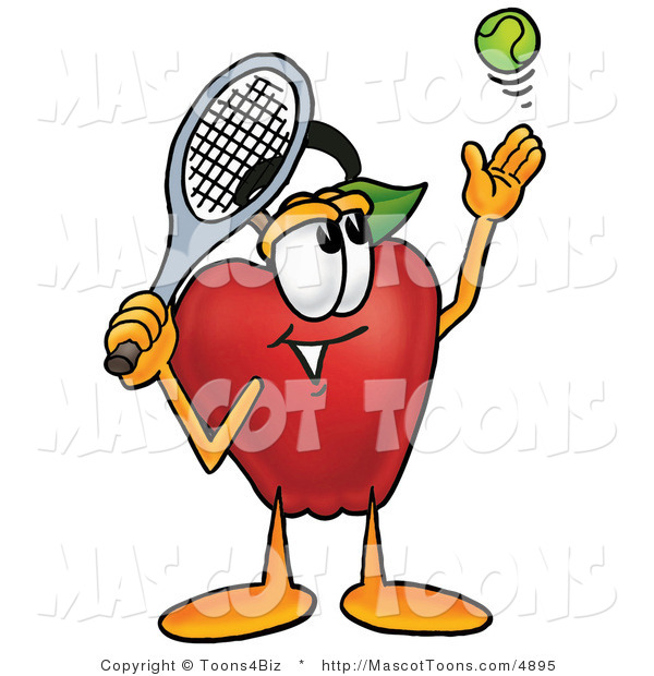 Mascot Cartoon of a Healthy Red Apple Character Mascot Preparing to Hit a Tennis Ball