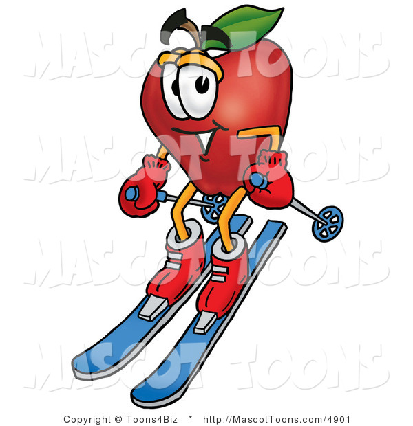 Mascot Cartoon of a Healthy Red Apple Character Mascot Skiing Downhill
