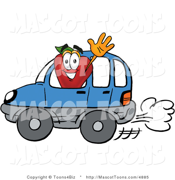 Mascot Cartoon of a Healthy Red Apple Character Mascot Waving to a Friend While Driving by in a Blue Car