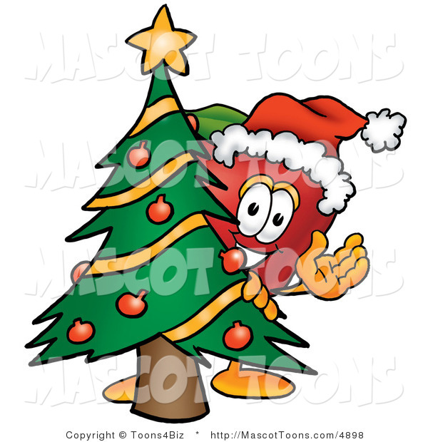 Mascot Cartoon of a Healthy Red Apple Character Mascot with a Decorated Christmas Tree