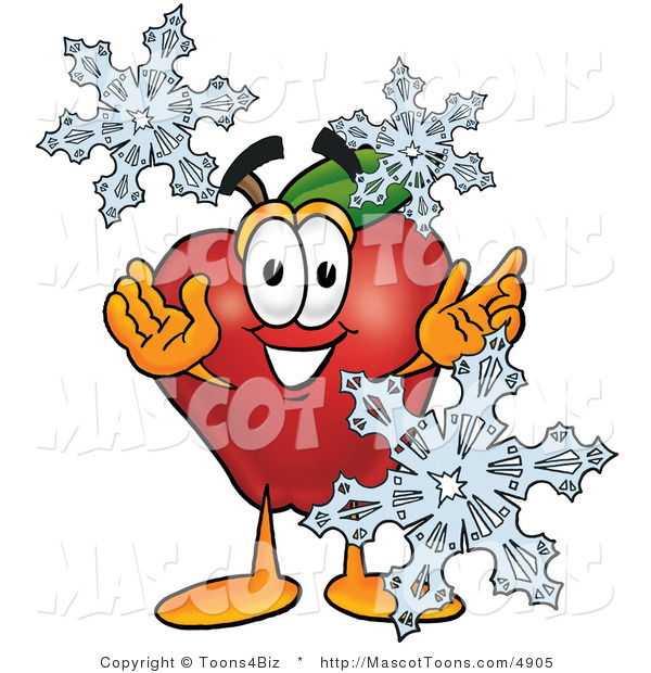 Mascot Cartoon of a Healthy Red Apple Character Mascot with Icy Snowflakes in Winter