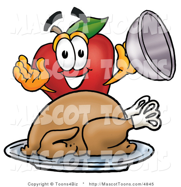 Mascot Cartoon of a Hungry Nutritious Red Apple Character Mascot with a Cooked Thanksgiving Turkey on a Platter