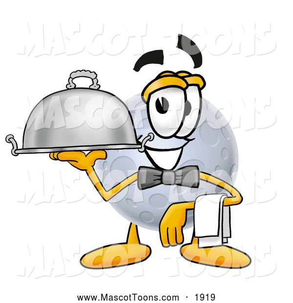 Mascot Cartoon of a Moon Mascot Waiter and Holding a Serving Platter