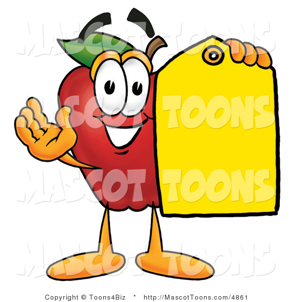 Mascot Cartoon of a Nutritious Red Apple Character Mascot Holding a Blank Yellow Price Tag for a Sale