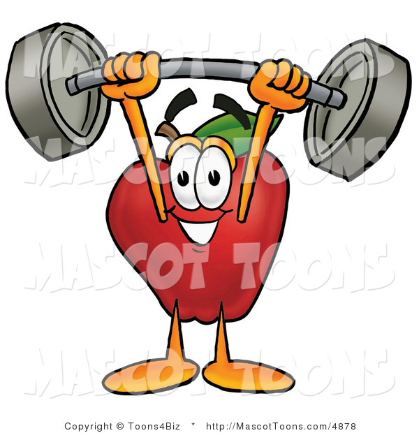 Mascot Cartoon of a Nutritious Red Apple Character Mascot Holding a Heavy Barbell Above His Head