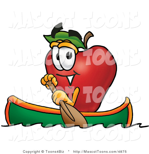 Mascot Cartoon of a Nutritious Red Apple Character Mascot Rowing a Boat