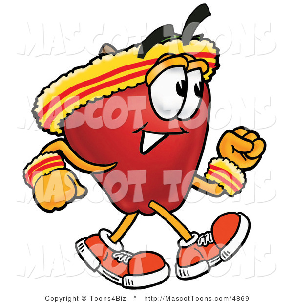 Mascot Cartoon of a Nutritious Red Apple Character Mascot Speed Walking or Jogging