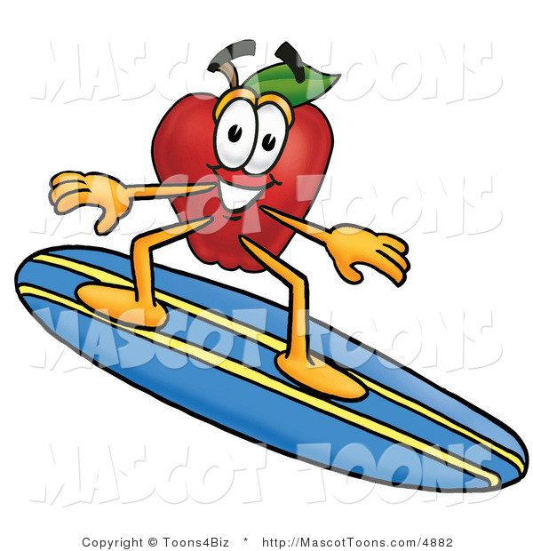 Mascot Cartoon of a Nutritious Red Apple Character Mascot Surfing on a Blue and Yellow Surfboard