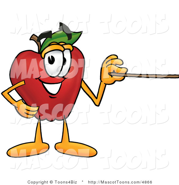 Mascot Cartoon of a Nutritious Red Apple Character Mascot Using a Pointer Stick
