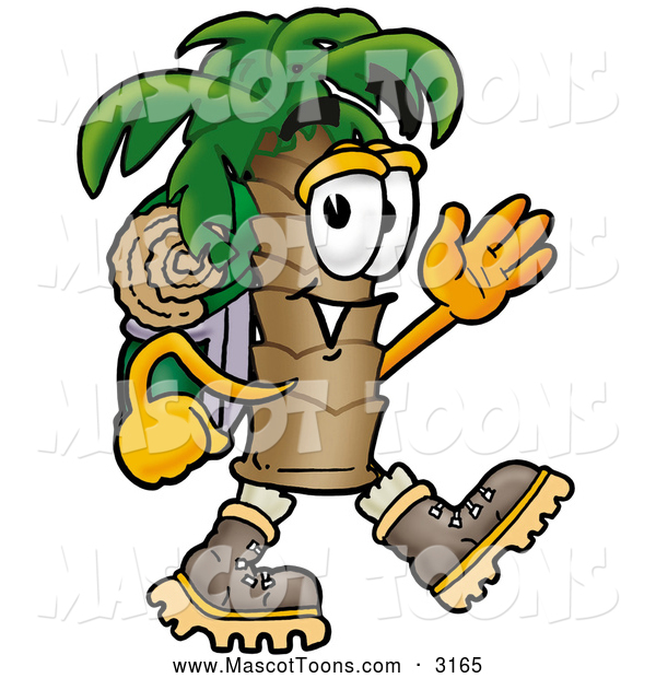 Mascot Cartoon of a Palm Tree Mascot Hiking and Carrying a Backpack