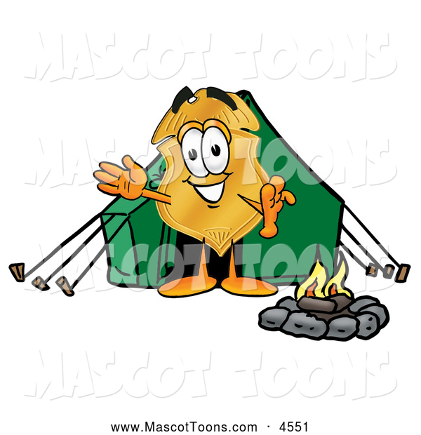 Mascot Cartoon of a Police Badge Mascot Cartoon Character Camping with a Tent and Fire