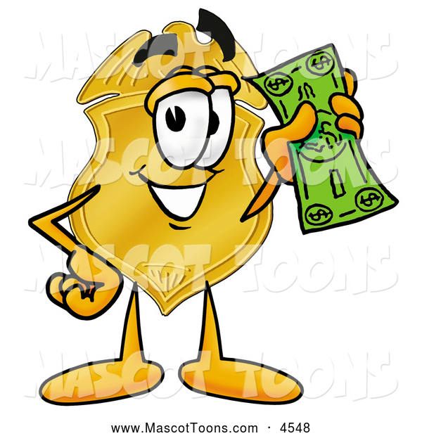 Mascot Cartoon of a Police Badge Mascot Cartoon Character Holding a Dollar Bill