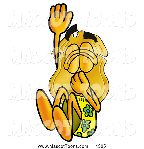 Mascot Cartoon of a Police Badge Mascot Cartoon Character Plugging His Nose While Jumping into Water