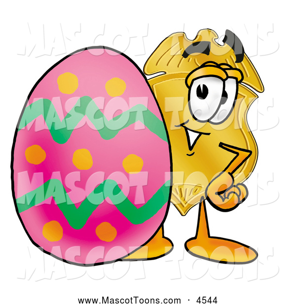 Mascot Cartoon of a Police Badge Mascot Cartoon Character Standing Beside an Easter Egg