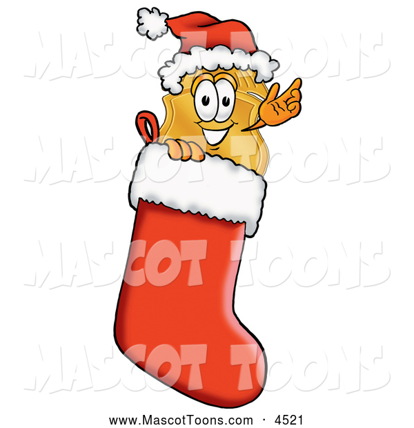 Mascot Cartoon of a Police Badge Mascot Cartoon Character Wearing a Santa Hat Inside a Red Christmas Stocking